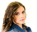 Portrait female teen close up young girl blue jean jacket long hair Royalty Free Stock Images