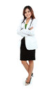 Portrait of female young doctor standing with folded arms full lenght Royalty Free Stock Image