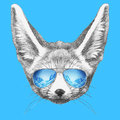 Portrait of Fennec Fox with mirror sunglasses.