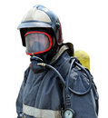 Portrait of a firefighter in breathing apparatus Royalty Free Stock Photo