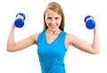 Portrait of fitness woman working out with free weights Royalty Free Stock Photo