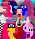 Portrait of Four Adult People vector illustration