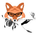 Portrait of fox with cigarette retro look vector illustration Stock Photo