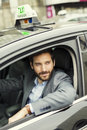 Portrait of French Parisian taxi driver Royalty Free Stock Photo