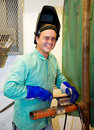 Portrait of Friendly Welder Stock Photo