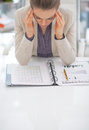 Portrait of frustrated business woman at work Royalty Free Stock Photo