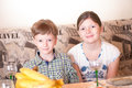 Portrait a fullface of the smil girl and the boy Royalty Free Stock Photo