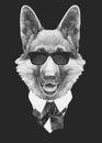 Portrait of German Shepherd in suit.