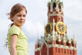 Portrait of girl against spassky tower moscow kremlin Stock Image