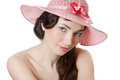 Portrait of the girl in a beach hat Stock Photos