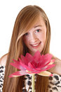 Portrait of girl with flower. Royalty Free Stock Photos