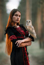 Portrait of girl in forest with owl in hand. Close-up. Royalty Free Stock Photo