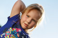 Portrait of a girl from the frog perspective Royalty Free Stock Photo
