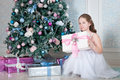 Portrait of girl with gift box christmas time and tree Stock Photos