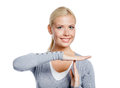 Portrait girl gray sweater gesturing time out isolated white Stock Photo