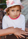 Portrait of the girl in a hat near mother Stock Images