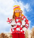 Portrait of girl with ice skates Royalty Free Stock Photo