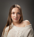 Portrait of girl in knitted sweater Stock Photography