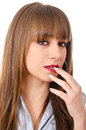 Portrait of a girl with nails miraqda seductive fashion ironing hair Stock Images