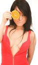 Portrait of a girl with orange. Royalty Free Stock Photos
