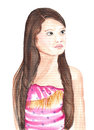 Portrait of girl in pink dress asian school watercolor painting Royalty Free Stock Photos