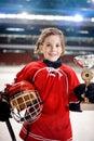 Portrait of girl player ice hockey winner trophy Royalty Free Stock Photo