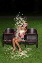 Portrait of a girl with popcorn Royalty Free Stock Photo