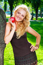 Portrait of girl with red apple Royalty Free Stock Images