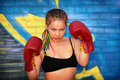 Portrait of a girl with red boxing gloves Royalty Free Stock Images