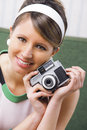 Portrait of girl with retro camera on style Royalty Free Stock Image