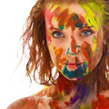 Portrait of girl soiled in paint Royalty Free Stock Photo