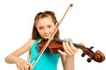 Portrait of girl with string and playing violin Royalty Free Stock Photo
