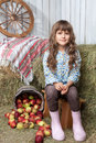 Portrait of girl villager near pail with  apples Royalty Free Stock Image