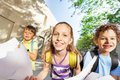Portrait of girl want go back to school with mates Royalty Free Stock Photo