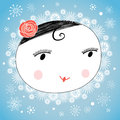 Portrait of a girl in winter graphic cheerful on the background with snowflakes Royalty Free Stock Photography