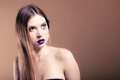 Portrait of girl woman with long straight hair and creative makeup
