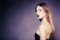 Portrait girl young woman with long straight hair creative makeup