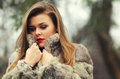 Portrait of the glamorous brunette lady in expensive fur coat Stock Photo