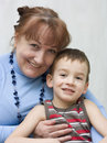 Portrait of grandmother with a grandson. Royalty Free Stock Image