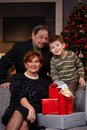 Portrait of grandparents and grandson at christmas Stock Image