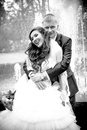 Portrait of groom hugging bride from back against fountain black and white Royalty Free Stock Photos