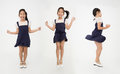 Portrait group of asian cute girl is jumping with smile face Royalty Free Stock Photo