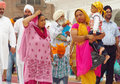 Portrait of a group of sikhs in india in national dress the golden temple amritsar turbans men and women Stock Photography