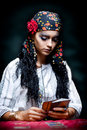 A portrait of a gypsy fortune teller. Stock Images