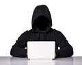 Portrait of hacker isolated on white background Royalty Free Stock Images