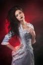 Portrait of halloween vampire woman
