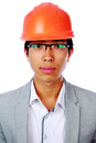 Portrait of a handsome asian man in helmet over white background Royalty Free Stock Photos