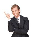 Portrait of a handsome businessman pointing finger up Stock Photo