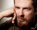 Portrait of handsome calm bearded man Royalty Free Stock Photo