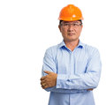 Portrait of an handsome engineer isolated on white Stock Photography